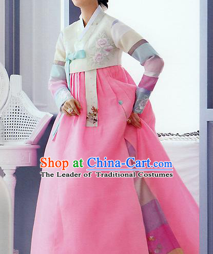 Traditional Korean Costumes Palace Lady Formal Attire Ceremonial Pink Dress, Asian Korea Hanbok Bride Embroidered Clothing for Women