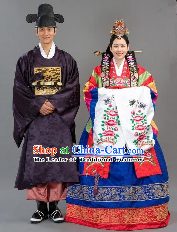 Traditional Korean Costumes Emperor and Empress Formal Attire Ceremonial Cloth, Asian Korea Hanbok Embroidered Clothing for Women for Men