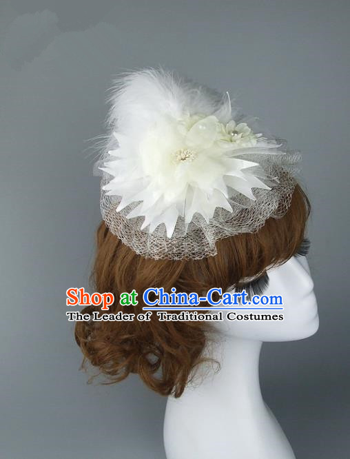 Top Grade Handmade Wedding Hair Accessories White Feather Top Hat, Baroque Style Bride Headwear for Women