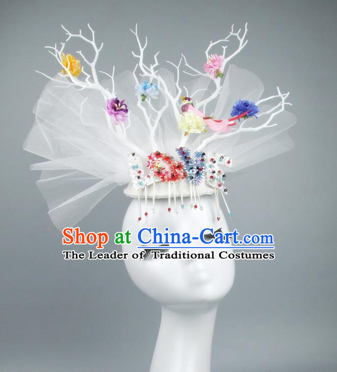 Asian China White Veil Hair Accessories Model Show Embroidery Headdress, Halloween Ceremonial Occasions Miami Deluxe Headwear
