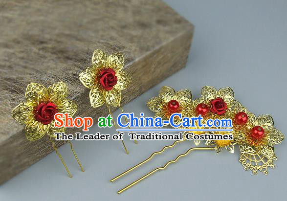 Traditional Handmade Chinese Ancient Classical Hair Accessories Bride Wedding Hair Sticks Hair Fascinators Hairpins for Women