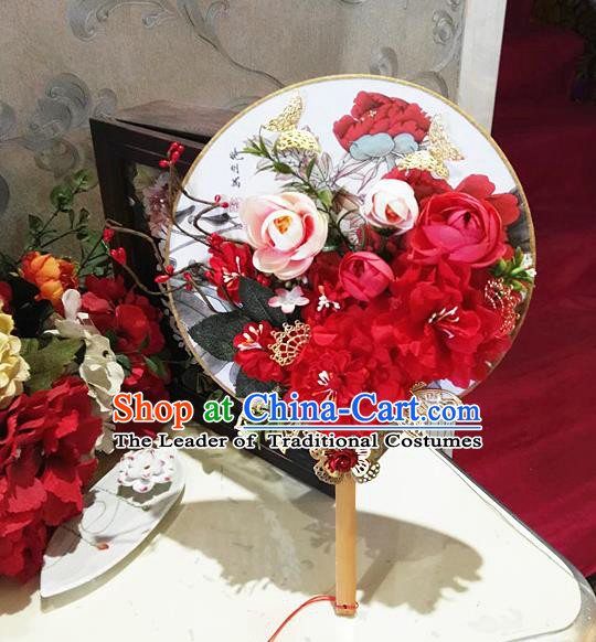 Traditional Handmade Chinese Ancient Wedding Round Fans, Hanfu Palace Lady Bride Mandarin Fans for Women