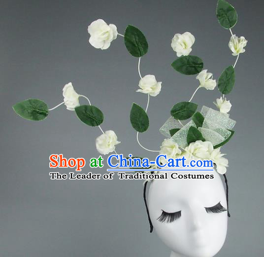 Asian China Exaggerate Hair Accessories Model Show White Flowers Headpiece, Halloween Ceremonial Occasions Miami Deluxe Headwear