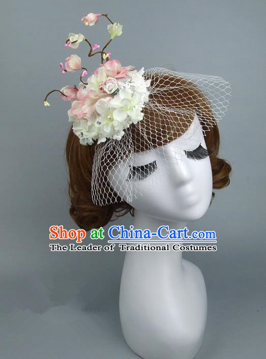 Top Grade Handmade Wedding Hair Accessories Flowers Headpiece, Baroque Style Bride Headwear for Women