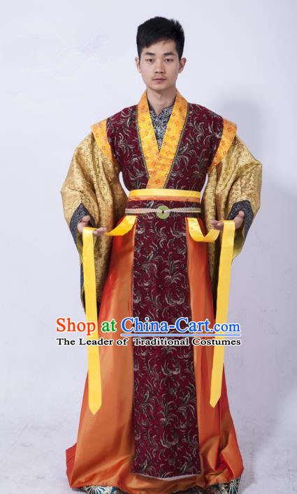 Traditional Ancient Chinese Royal Highness Costume, Asian Chinese Han Dynasty Emperor Clothing for Men