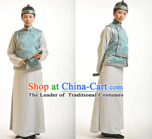 Traditional Ancient Chinese Manchu Young Men Costume, Asian Chinese Qing Dynasty Prince Embroidered Dress Clothing for Men