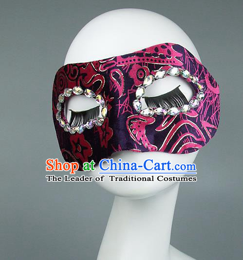 Top Grade Handmade Exaggerate Fancy Ball Model Show Crystal Pink Mask, Halloween Ceremonial Occasions Face Mask