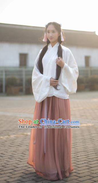 Traditional Chinese Ancient Ming Dynasty Young Lady Blouse and Skirts Costume Complete Set for Women