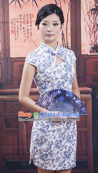 Traditional Chinese National Costume Tang Suit Qipao, China Ancient Cheongsam Silk Chirpaur Dress for Women