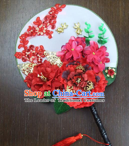 Traditional Handmade Chinese Ancient Wedding Red Peony Round Fans, Hanfu Palace Lady Bride Xiuhe Suit Mandarin Fans for Women