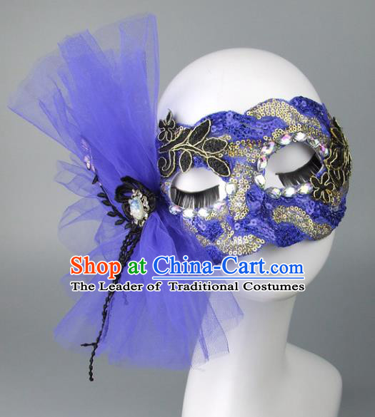 Handmade Halloween Fancy Ball Accessories Cat Blue Bowknot Mask, Ceremonial Occasions Miami Model Show Face Mask