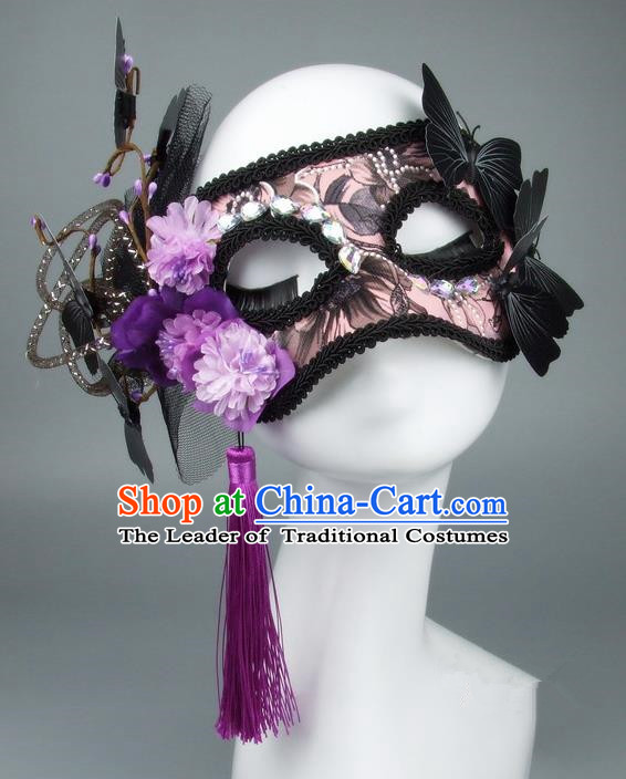 Handmade Halloween Fancy Ball Accessories Black Veil Butterfly Mask, Ceremonial Occasions Miami Model Show Face Mask