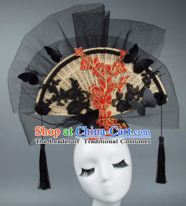 Handmade Asian Chinese Fan Hair Accessories Red Lace Flowers Butterfly Headwear, Halloween Ceremonial Occasions Miami Model Show Tassel Headdress
