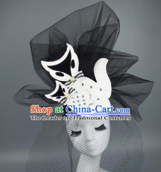Handmade Exaggerate Fancy Ball Hair Accessories Black Veil Fox Headwear, Halloween Ceremonial Occasions Model Show Headdress