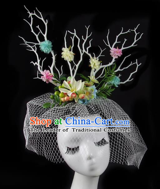 Handmade Exaggerate Fancy Ball Hair Accessories Flowers Branch Headwear, Halloween Ceremonial Occasions Model Show Headdress