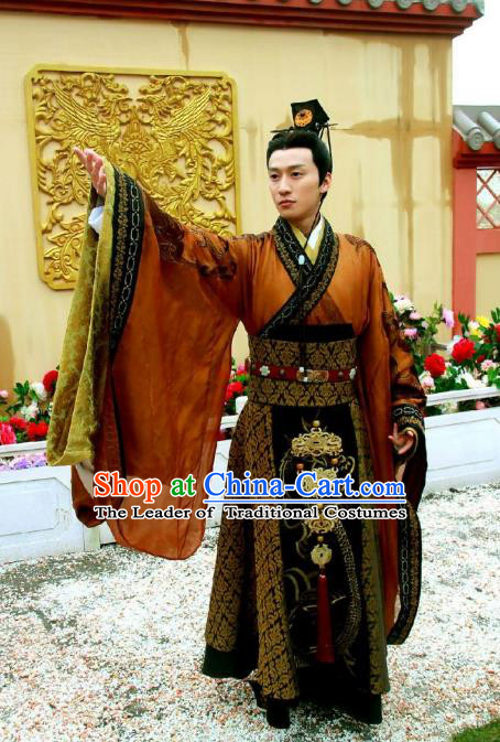 Traditional Chinese Ancient Qin Dynasties Emperor Embroidered Costume and Handmade Headpiece Complete Set