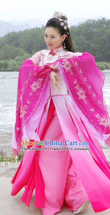 Traditional Chinese Qing Dynasty Princess Dance Embroidered Costume, Asian China Ancient Palace Lady Clothing for Women