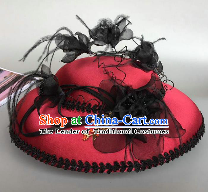 Top Grade Handmade Wedding Hair Accessories Feather Red Top Hat, Baroque Style Bride Headdress for Women