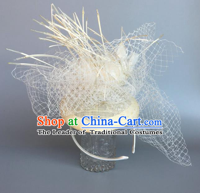 Top Grade Handmade Wedding Hair Accessories White Feather Hair Clasp, Baroque Style Bride Headdress for Women