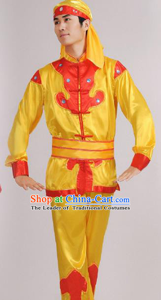 Traditional Chinese Classical Yangge Dance Embroidered Costume, Folk Lion Dance Uniform Drum Dance Yellow Clothing for Men