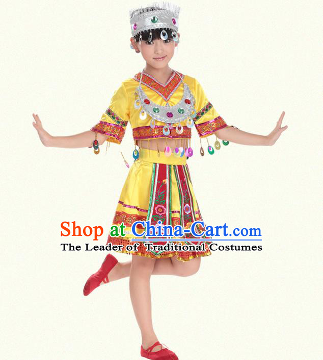 Traditional Chinese Miao Nationality Dance Costume, Hmong Children Folk Dance Ethnic Yellow Pleated Skirt Embroidery Clothing for Kids