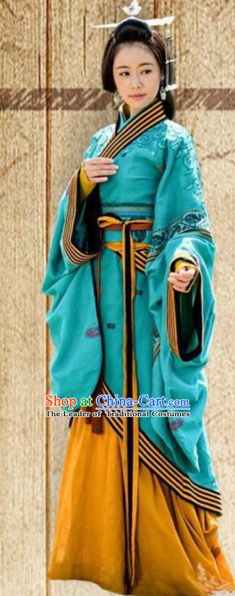 Traditional Chinese Han Dynasty Palace Lady Embroidered Costume, Asian China Ancient Imperial Empress Clothing for Women
