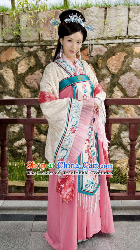 Traditional Chinese Tang Dynasty Imperial Concubine Costume, Asian China Ancient Palace Lady Embroidered Clothing for Women