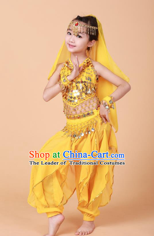 Traditional Chinese Uyghur Nationality Indian Dance Costume, China Uigurian Minority Embroidery Yellow Clothing for Kids