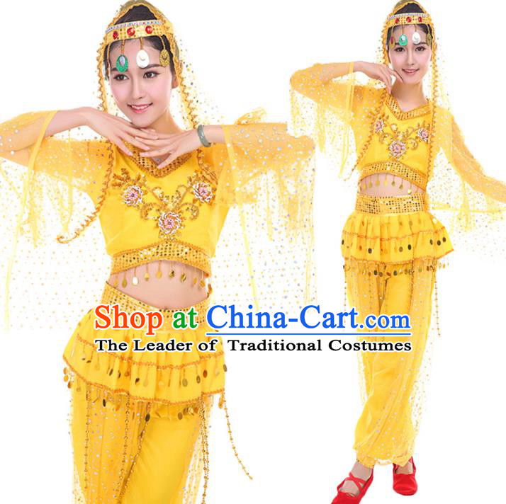 Traditional Chinese Uyghur Nationality Dance Costume, Chinese Minority Nationality Uigurian Dance Yellow Clothing for Women