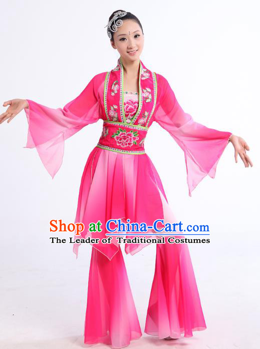 Traditional Chinese Yangge Fan Dance Dance Costume, Folk Dance Uniform Classical Dance Embroidery Clothing for Women