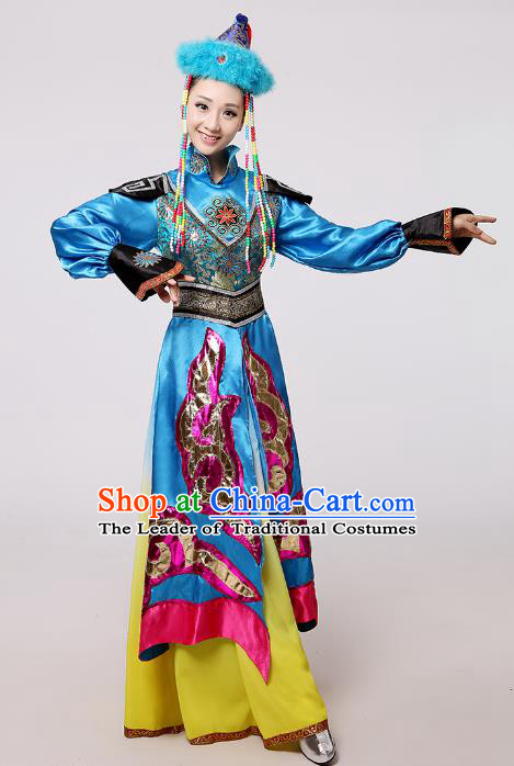 Traditional Chinese Mongol Nationality Dance Blue Costume, China Mongolian Minority Embroidery Long Dress Clothing for Women