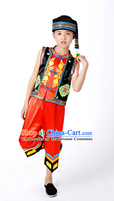 Traditional Chinese Miao Nationality Dance Costume, China Miao Minority Embroidery Black Clothing for Kids