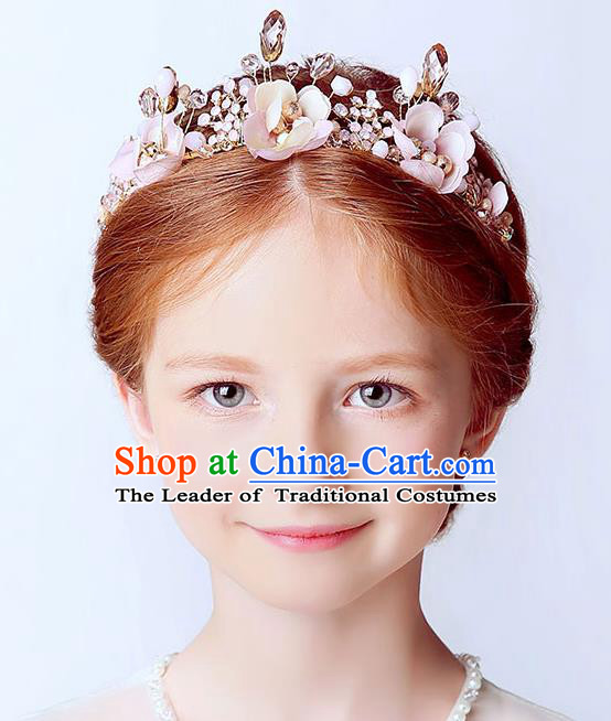 Handmade Children Hair Accessories Royal Crown, Princess Headwear Model Show Pink Flowers Hair Clasp for Kids
