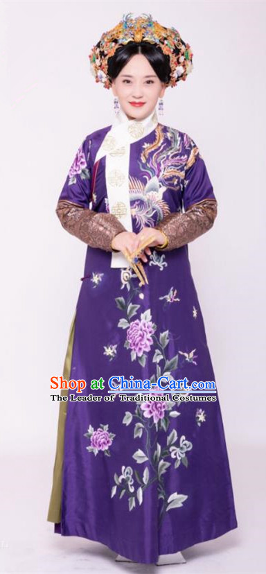Traditional Chinese Ancient Imperial Consort Costume and Handmade Headpiece Complete Set, Asian China Qing Dynasty Manchu Lady Embroidered Clothing
