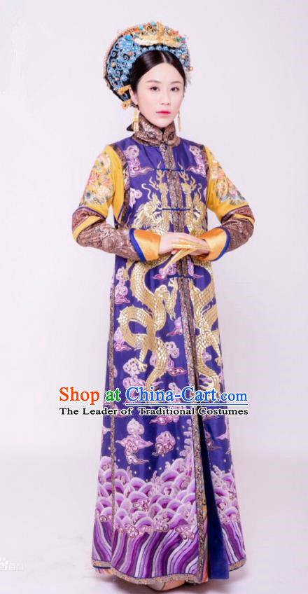Traditional Chinese Ancient Palace Lady Costume and Handmade Headpiece Complete Set, Asian China Qing Dynasty Manchu Empress Embroidered Clothing