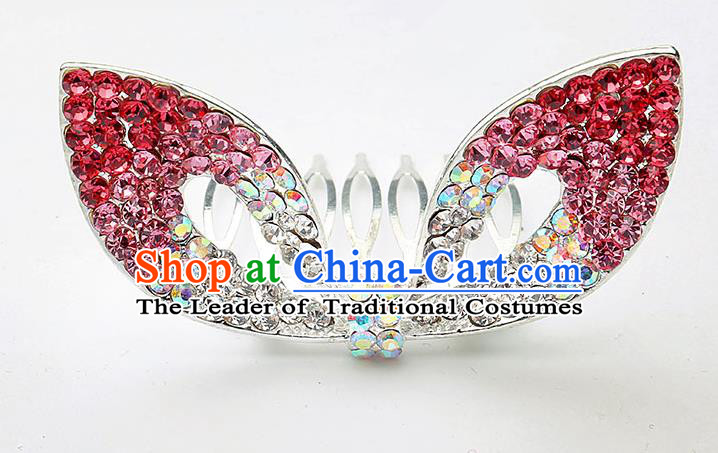 Handmade Children Hair Accessories Red Crystal Hair Comb, Princess Halloween Model Show Royal Crown Headwear for Kids