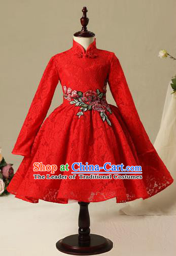 Children Christmas Model Show Dance Costume Red Lace Cheongsam, Ceremonial Occasions Catwalks Princess Full Dress for Girls