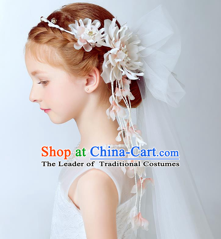 Handmade Children Hair Accessories Flowers Hair Clasp, Princess Halloween Model Show Bridal Veil Headwear for Kids