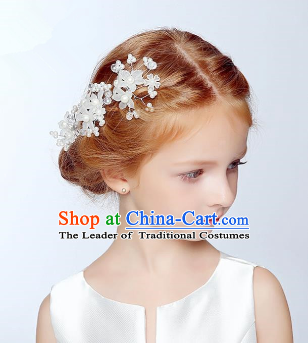 Handmade Children Hair Accessories Flowers Hair Stick, Princess Halloween Model Show Headwear Hair Claw for Kids