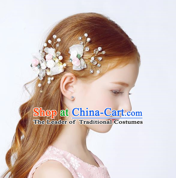 Handmade Children Hair Accessories White Flowers Bowknot Hair Clasp, Princess Halloween Model Show Headwear for Kids