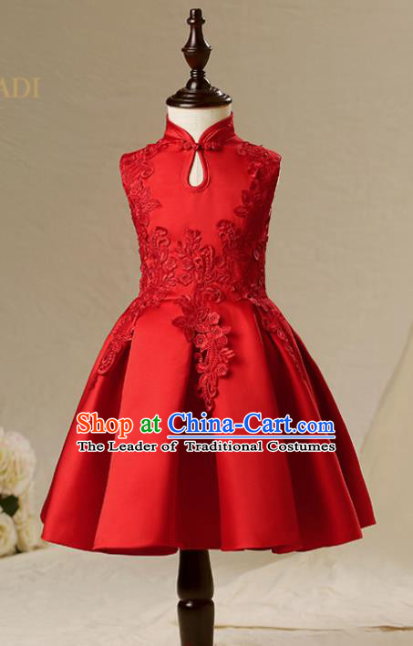 Children Model Show Dance Costume Red China Cheongsam, Ceremonial Occasions Catwalks Princess Full Dress for Girls