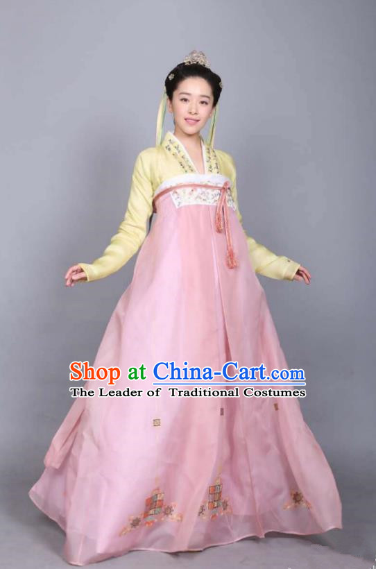 Asian Chinese Tang Dynasty Princess Costume, Traditional Ancient Palace Lady Embroidered Costume and Handmade Headpiece Complete Set