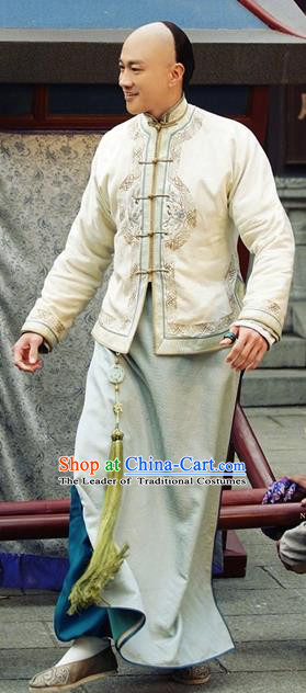 Asian Chinese Qing Dynasty Manchu Nobility Childe Mandarin Jacket Embroidered Costume for Men