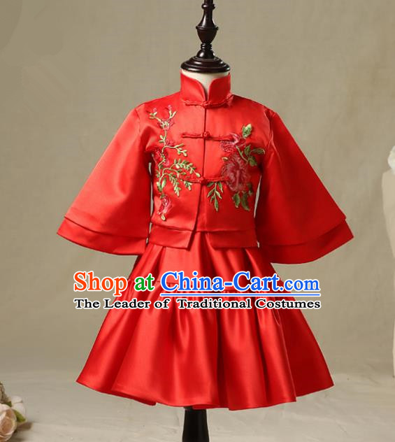 Children Model Show Dance Costume China Red Xiuhe Suit, Ceremonial Occasions Catwalks Princess Cheongsam for Girls