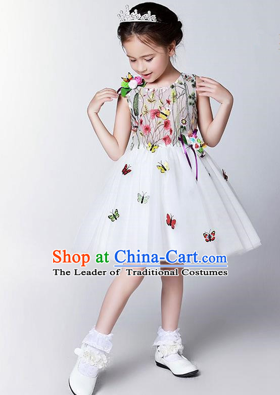 Children Model Show Dance Costume Embroidery Butterfly Full Dress, Ceremonial Occasions Catwalks Princess Veil Dress for Girls