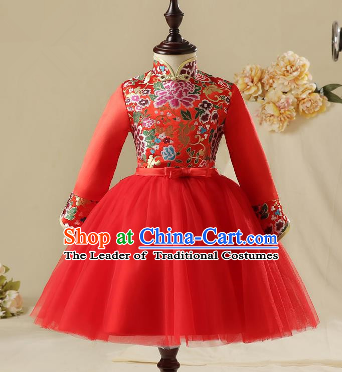 Children Model Show Dance Costume China Red Cheongsam, Ceremonial Occasions Catwalks Princess Embroidery Dress for Girls