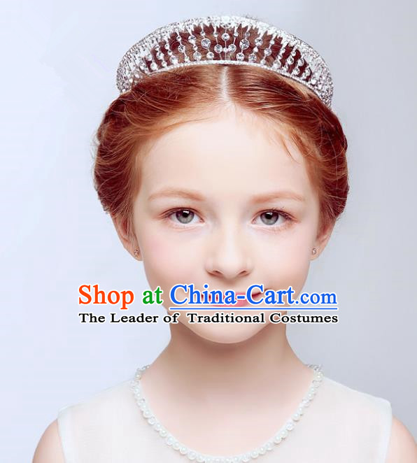 Handmade Children Hair Accessories Hair Clasp, Princess Halloween Model Show Royal Crown Headwear for Kids