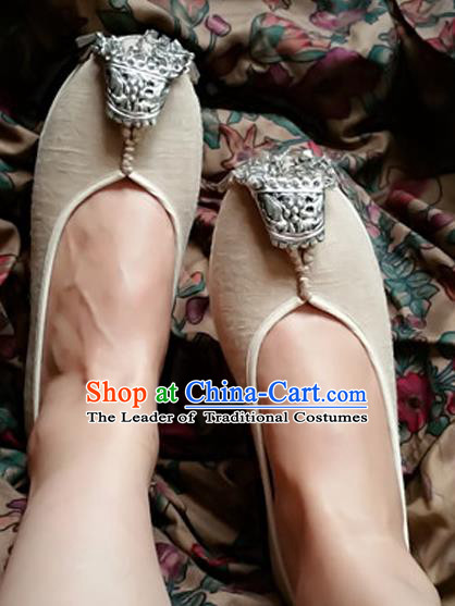 Asian Chinese Shoes Wedding Shoes Hand Linen Shoes, Traditional China Princess Shoes Hanfu Shoes for Women