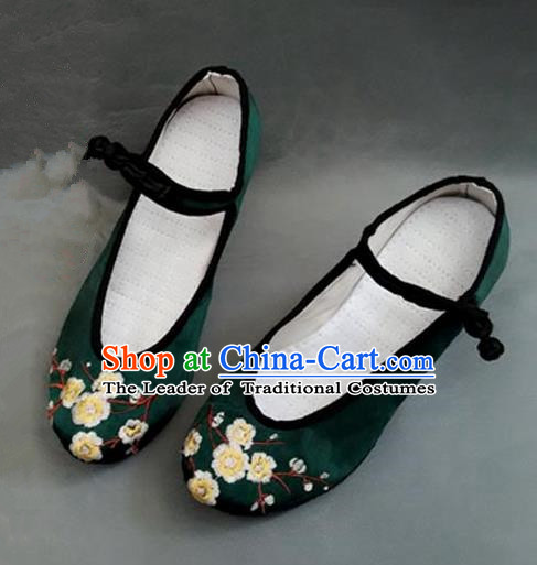 Asian Chinese Shoes Wedding Shoes Handmade Green Embroidered Wintersweet Shoes, Traditional China Princess Shoes Hanfu Become Warped Head Shoe for Women