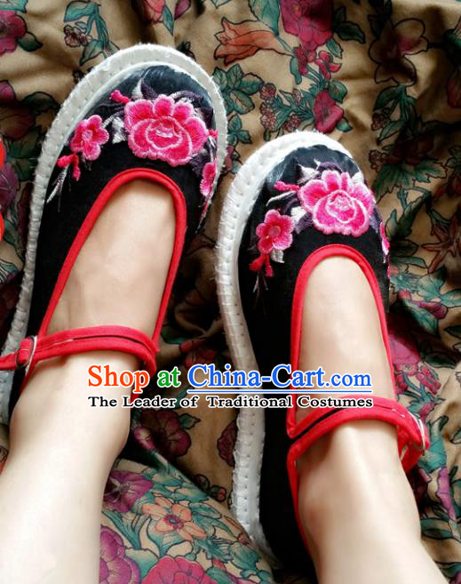 Asian Chinese National Embroidery Peony Black Cloth Shoes, Traditional China Princess Handmade Embroidered Shoes Hanfu Shoe for Women